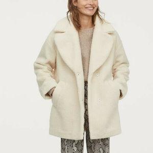 H&M  Cream Teddy Coat Size Small